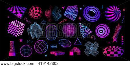 Retro Futuristic Shapes. Abstract Geometric Figures. Bright Cubes And Spheres With Grid Texture. Con