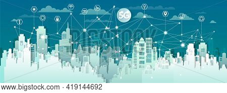 Technology Wireless Network Communication Smart City 5g With Icon In City Downtown Skyscraper On Blu