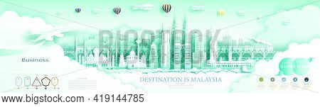 Travel Landmark Malaysia Top World Famous City Ancient And Modern Architecture. Modern Business Broc