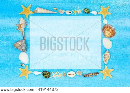 Marine Mockup. Seashells And Starfishes Frame With White Sheet For Text, Invitations, Congratulation