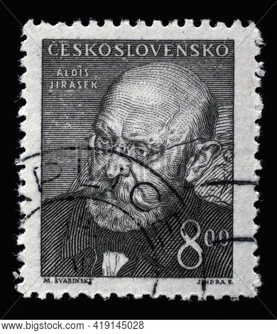 ZAGREB, CROATIA - SEPTEMBER 18, 2014: Stamp printed in Czechoslovakia shows portrait of Aloisk Jirasek, Czech writer and public figure. Member of the Czech Academy of Sciences and arts, circa 1949