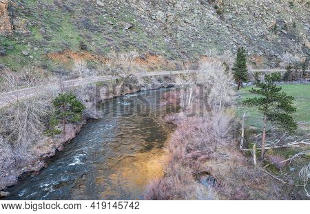 Poudre River in the canyon above Fort Collins, Colorado, in early spring scenery, aerial view