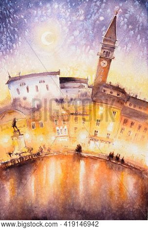 View Of The City Of Piran At Night, Slovenia And The Adriatic Sea. Picture Created With Watercolors.