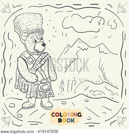 Coloring Book For Young Children Contour Illustration In The Style Of A Doodle, A Teddy Bear In The