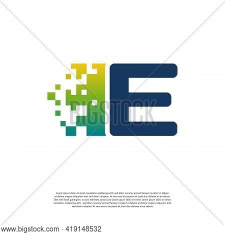 E Initial Tech Logo Vector, Cool Initial Pixel Logo Template Vector