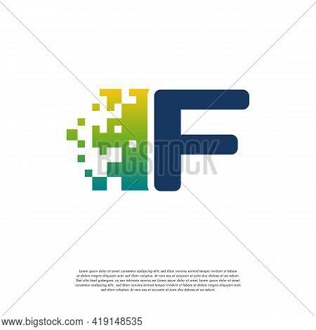 F Initial Tech Logo Vector, Cool Initial Pixel Logo Template Vector