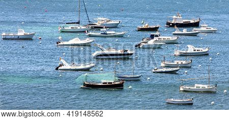 Cove With Small Boats In Cadacez, Spain. Selective Focus