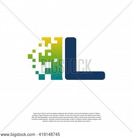 L Initial Tech Logo Vector, Cool Initial Pixel Logo Template Vector