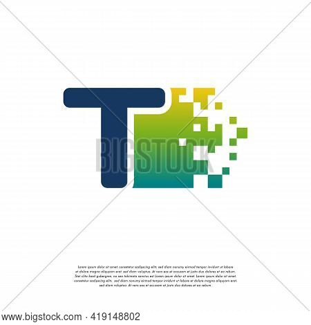 T Initial Tech Logo Vector, Cool Initial Pixel Logo Template Vector