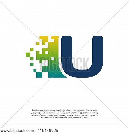U Initial Tech Logo Vector, Cool Initial Pixel Logo Template Vector