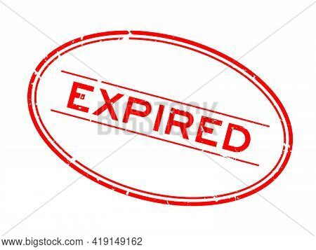 Grunge Red Expired Word Oval Rubber Seal Stamp On White Background