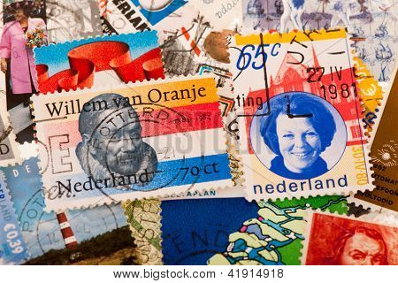 Typical old Dutch post stamps