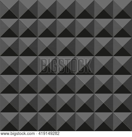 Acoustic Foam Seamless Pattern. Soundproofing Acoustic Pyramid. Vector