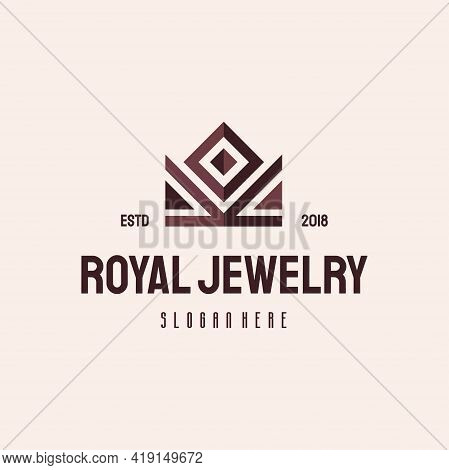 Royal Crown Jewelry Logo Hipster Retro Vintage Vector Template, King Crown Logo