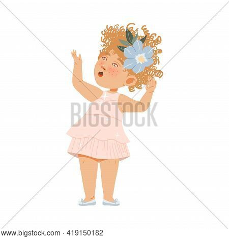 Charming Little Girl With Freckles And Curly Hair In Fancy Dress As Bride And Groom Attendant Vector