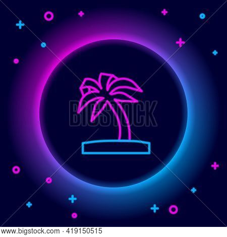 Glowing Neon Line Tropical Palm Tree Icon Isolated On Black Background. Coconut Palm Tree. Colorful