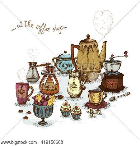 Coffee Shop Still Life Set Vector Illustration