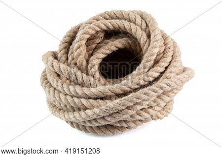 Coil Of Natural Jute Hessian Rope Cord Braided Twisted Isolated On White Background