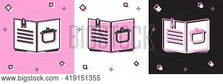 Set Cookbook Icon Isolated On Pink And White, Black Background. Cooking Book Icon. Recipe Book. Fork