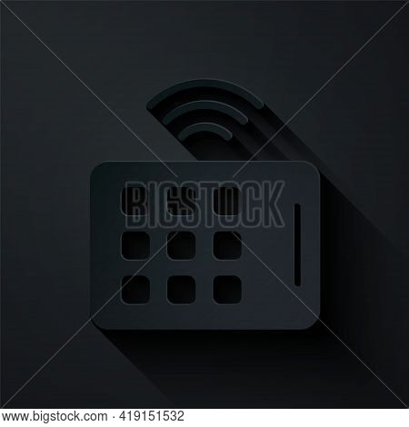 Paper Cut Wireless Tablet Icon Isolated On Black Background. Internet Of Things Concept With Wireles