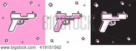 Set Pistol Or Gun Icon Isolated On Pink And White, Black Background. Police Or Military Handgun. Sma