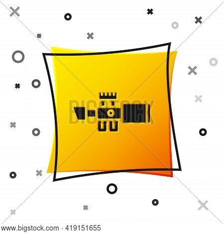 Black Sniper Optical Sight Icon Isolated On White Background. Sniper Scope Crosshairs. Yellow Square