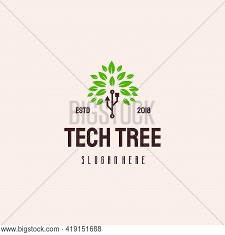 Tech Tree Logo Hipster Retro Vintage Vector Template
