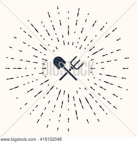 Grey Shovel And Rake Icon Isolated On Beige Background. Tool For Horticulture, Agriculture, Gardenin