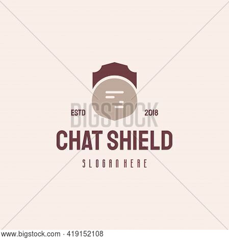 Chat Shield Logo Hipster Retro Vintage Vector Template, Secure Consult Logo