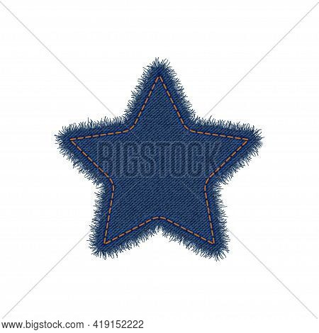 Denim Star Shape With Seam. Torn Jean Patch With Stitches. Vector Realistic Illustration On White Ba