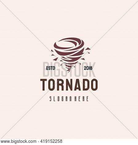 Tornado Logo Hipster Retro Vintage Vector Template, Typhoon Logo Template Concept