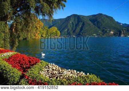 Summer cityscape of Lugano, Switzerland, Europe