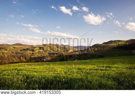 Green Valley Nature Landscape. Mountain Layers Landscape. Springtime In Mountain Landscape. Meadow A