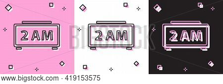Set Digital Alarm Clock Icon Isolated On Pink And White, Black Background. Electronic Watch Alarm Cl