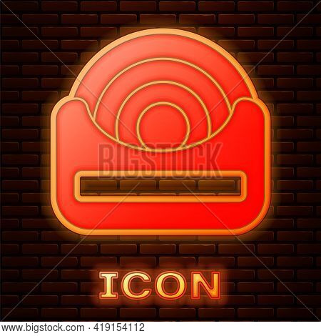 Glowing Neon Dental Floss Icon Isolated On Brick Wall Background. Vector