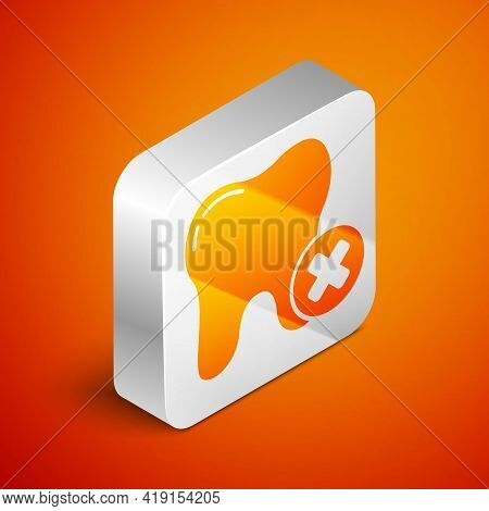 Isometric Tooth With Caries Icon Isolated On Orange Background. Tooth Decay. Silver Square Button. V