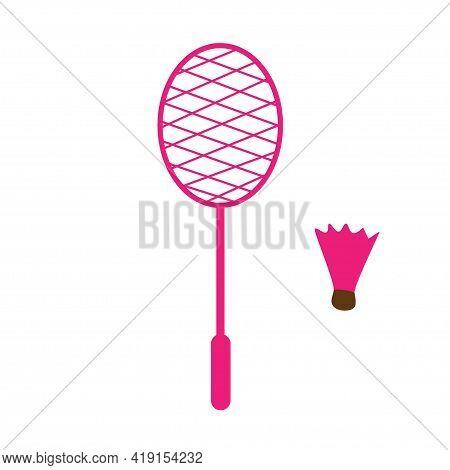 Badminton Racket And Shuttlecock. Rocket Sport Indoor And Outdoor. Tennis Court Or Beach Badminton.