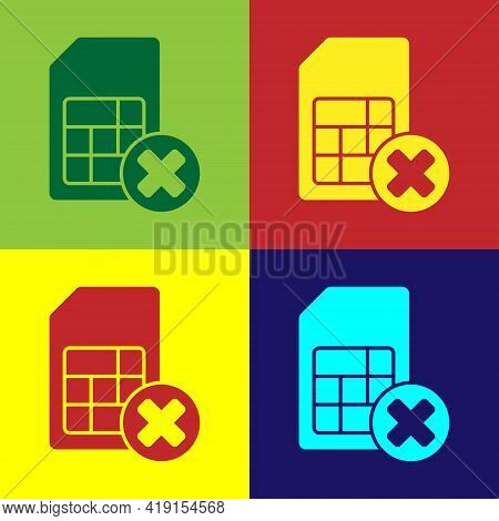 Pop Art Sim Card Rejected Icon Isolated On Color Background. Mobile Cellular Phone Sim Card Chip. Mo