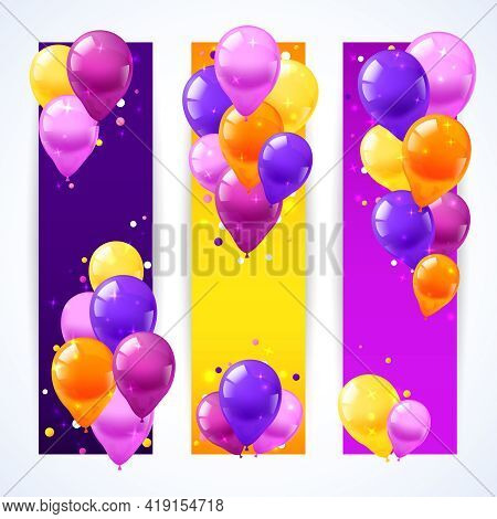 Festival And Birthday Banners Vertical Set With Realistic Air Balloons Isolated Vector Illustration