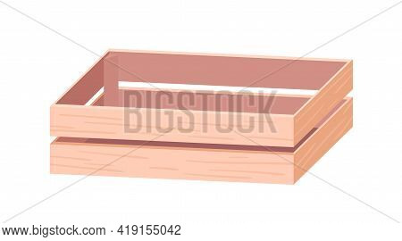Empty Wooden Box From Planks. Crate From Wood Timber For Transportation. Natural Storage Container F