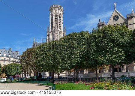 Paris, France - August 30, 2019: This Is The Michel Caldagues Square In Front Of The Saint-germain-l