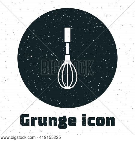 Grunge Kitchen Whisk Icon Isolated On White Background. Cooking Utensil, Egg Beater. Cutlery Sign. F