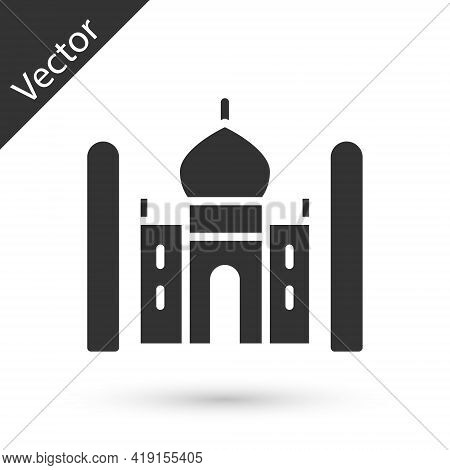 Grey Taj Mahal Mausoleum In Agra, Indiaicon Isolated On White Background. Vector
