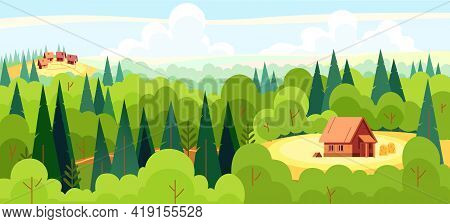 Medieval Fairy Tale Magical Landscape Panorama With A Village And A Fairy Tale Characters House In T