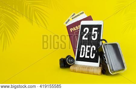December 25th. Day 25 Of Month, Calendar Date. Mechanical Calendar Display On Your Smartphone. The C