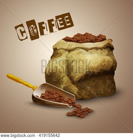 Burlap Bag With Roasted Aromatic Coffee Beans Poster Vector Illustration