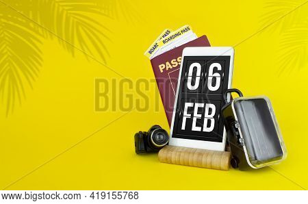 February 6th. Day 6 Of Month, Calendar Date. Mechanical Calendar Display On Your Smartphone. The Con