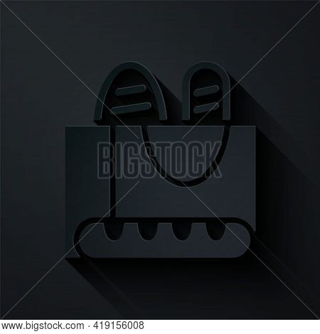 Paper Cut French Baguette Bread Icon Isolated On Black Background. Paper Art Style. Vector