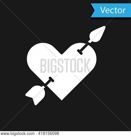 White Amour Symbol With Heart And Arrow Icon Isolated On Black Background. Love Sign. Valentines Sym