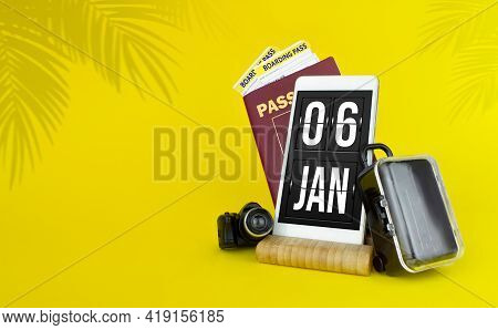 January 6th. Day 6 Of Month, Calendar Date. Mechanical Calendar Display On Your Smartphone. The Conc